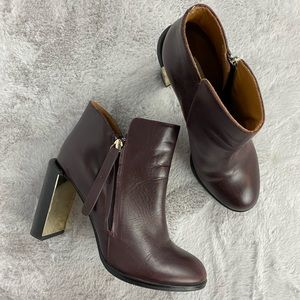 See by Chloe Nara Burgundy Leather Ankle Bootie 38